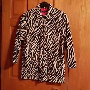 Zebra jacket with red lining